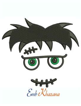 Halloween Frankenstein Face Machine Embroidery Design