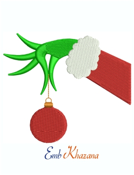 Grinch Hand Ornament Machine Embroidery Design