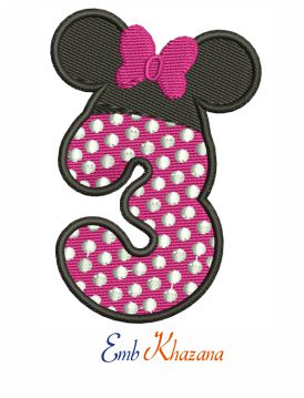 Happy 3rd Birthday Minnie Mouse embroidery design