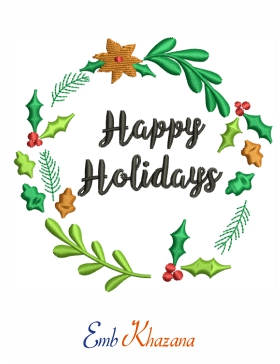Happy Holiday Embroidery Design