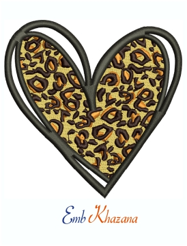 Leopard Print Love Heart Embroidery Design For Machine