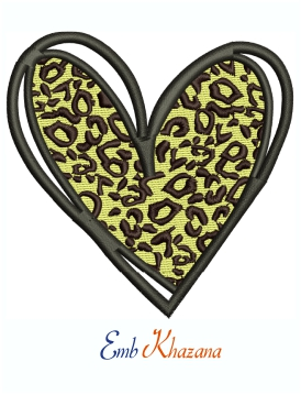 Leopard Print Heart Machine Embroidery Design