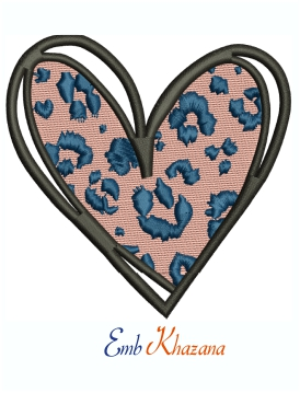 Leopard Cheetah Print Heart Machine Embroidery Design