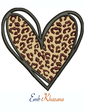 Leopard Print Love Heart Logo Machine Embroidery Design