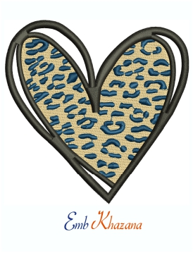 Leopard Heart Print Machine Embroidery Design