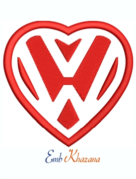 Volkswagen VW Heart Logo Machine Embroidery Design