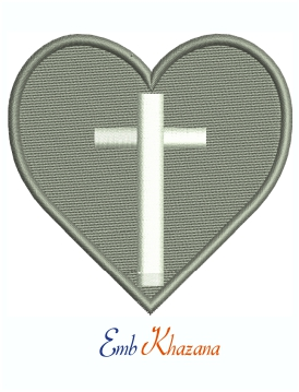 Heart With Cross Machine Embroidery Design