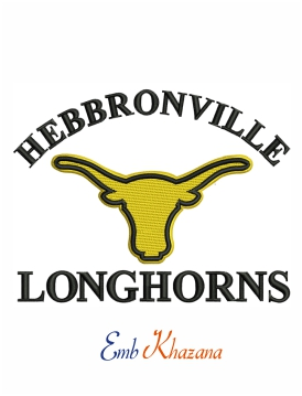 hebbronville longhorns logo embroidery design