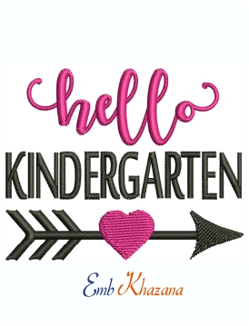 Hello Kindergarten Machine Embroidery Design