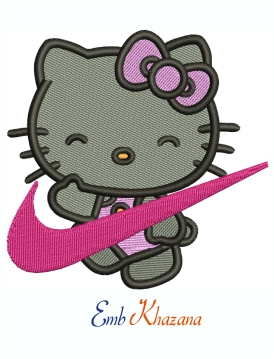 Nike Hello Kitty Swoosh Logo Machine Embroidery Design