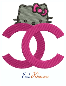 Chanel Hello kitty Face logo Embroidery Design