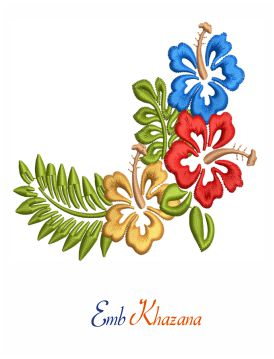 Hibiscus flowers corner embroidery design