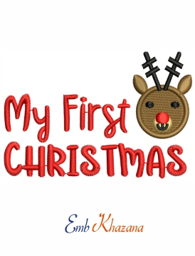Holidays My First Christmas embroidery design
