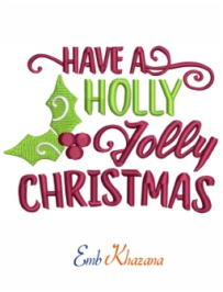 Holly Christmas Embroidery File