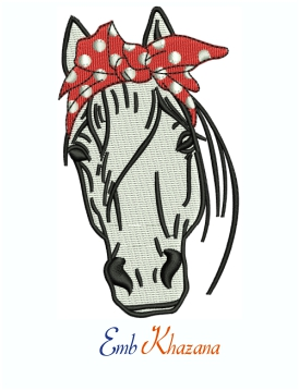 Horse Bandana Logo Machine Embroidery Design