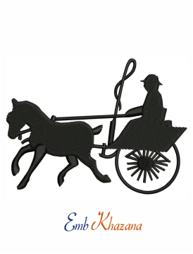 Horse and buggy embroidery design