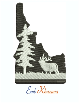 Idaho State Elk And Forest Scene Machine Embroidery Design