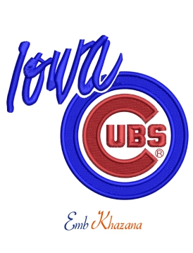 Iowa Cubs Logo embroidery design