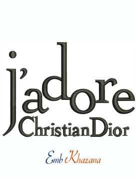 Jadore Christian Dior Machine Embroidery Design