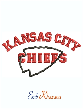 Kansas City Chiefs Football Logo Machine Embroidery Design