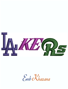 Los Angeles Mix Rams Lakers Logo Machine Embroidery Design