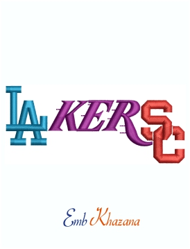 USC LA Lakers Dodgers Mashup Logo Machine Embroidery Design