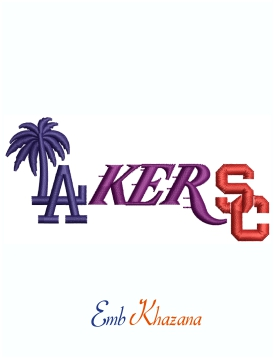 LA Lakers Dodgers Mashup Logo Machine Embroidery Design