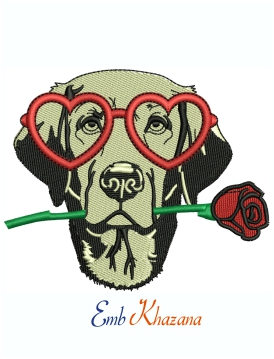 Labrador Dog Face With Goggles And Flower Machine Embroidery Design