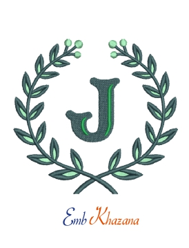 Laurel wreath with J letter