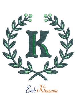 Laurel wreath with K letter