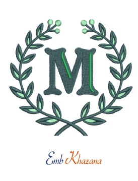 Laurel wreath with M letter