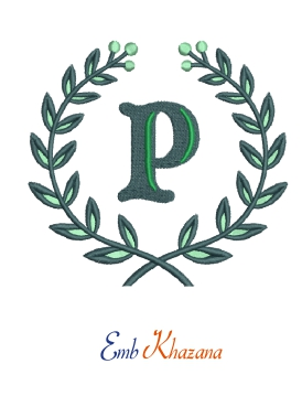 Laurel wreath with P letter