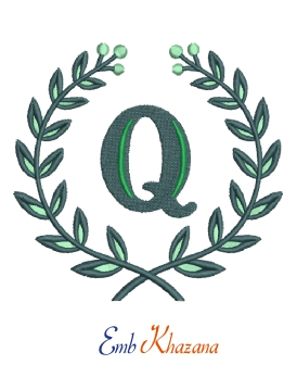 Laurel wreath with Q letter