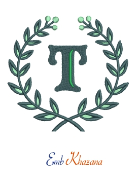 Laurel wreath with T letter