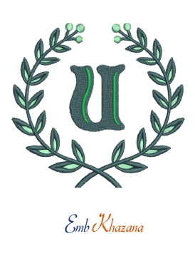Laurel wreath with U letter