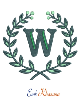 Laurel wreath with w letter