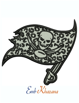 Leopard Buccaneers Logo Machine Embroidery Design