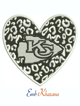 Leopard Heart Kansas City Chiefs Logo Machine Embroidery Design