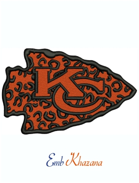 Kansas City Chiefs Leopard print Logo Machine Embroidery Design