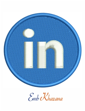Linkedin logo embroidery design