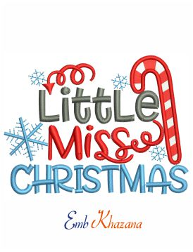 Little Miss Christmas Embroidery Design