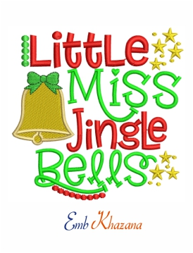 Little Miss Jingle Bell embroidery design