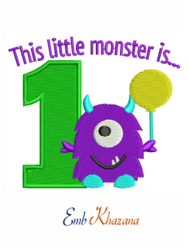 Little monster Birthday embroidery design
