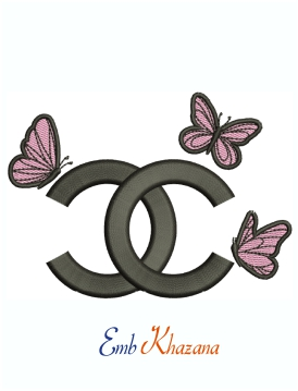 Chanel Logo With Butterfly Embroidery Design