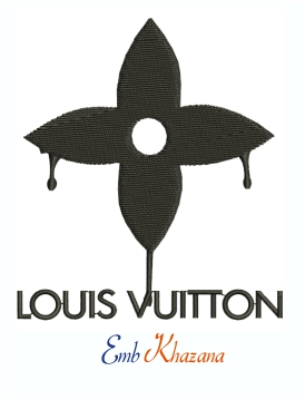 Louis Vuitton Drip flower logo machine embroidery design