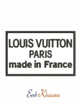 Louis Vuitton Paris made in France logo machine embroidery design
