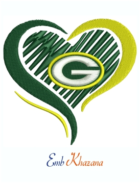 Love Green Bay Packers Football Logo Machine Embroidery Design