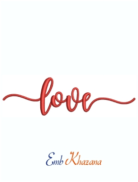 Love Word Valentine Machine Embroidery Design