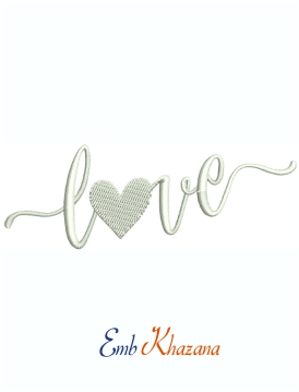 Love With Heart Machine Embroidery Design