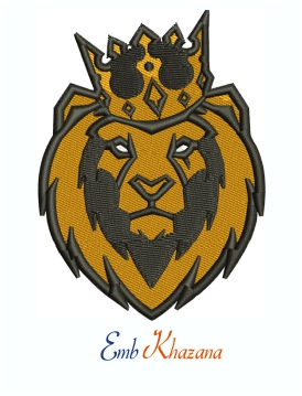 Lion Head With Crown Machine Embroidery Design
